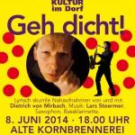 Brelinger Mitte, Kultur im Dorf 14 - Plakat Geh dicht!