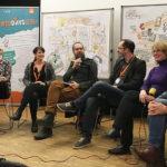 Webdays17_6_kl, Berlin,Anja Weiss, Hannover, zeichnen, Graphic Recording, Digitalisierung. Politik, Hacker-Ethik, Fake News, Fairness im Netz, Überwachung, digitale Selbstbestimmung, Podiumsdiskussion