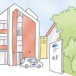 Haus_Rheinelbe_kl.jpg, Anja Weiss, Illustration, Altenpflege, Demenz-WG, APD, Gelsenkirchen, zeichnen