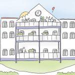 Haus_Rotthausen_kl.jpg, Anja Weiss, Illustration, Altenpflege, Demenz-WG, APD, Gelsenkirchen, zeichnen